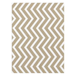 Cool taupe white Chevron  tablecloth