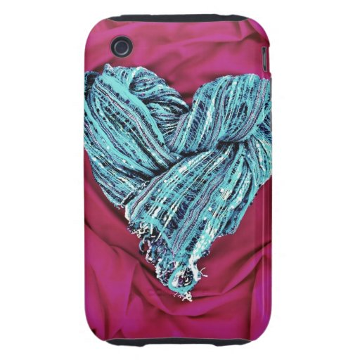 Cool Teal Blue Heart on Hot Pink Fabric Lovely Tough iPhone 3 Case