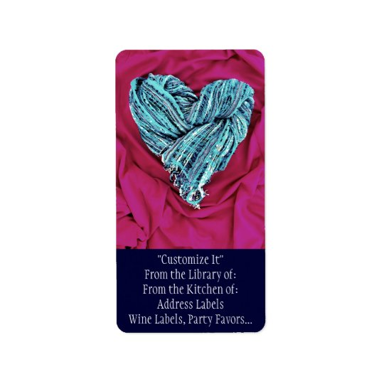 Cool Teal Blue Heart on Hot Pink Fabric Lovely Label