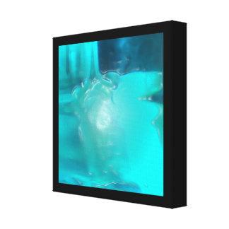 Cool Teal Blue Liquid Plastic Design Gallery Wrap Canvas