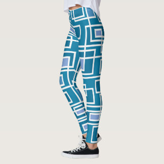 Cool teal geometric print on leggings