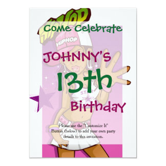 Cool Teen Hip Hop Rapper Pink and Purple Cartoon 13 Cm X 18 Cm Invitation Card