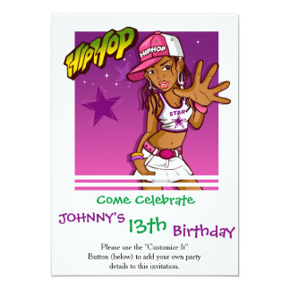 Cool Teen Hip Hop Rapper Pink and Purple Cartoon 13 Cm X 18 Cm Invitation Card