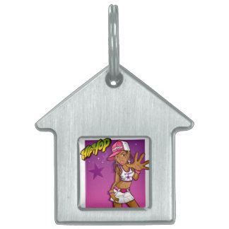 Cool Teen Hip Hop Rapper Pink and Purple Cartoon Pet Tags