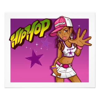 Cool Teen Hip Hop Rapper Pink and Purple Cartoon Photo Print