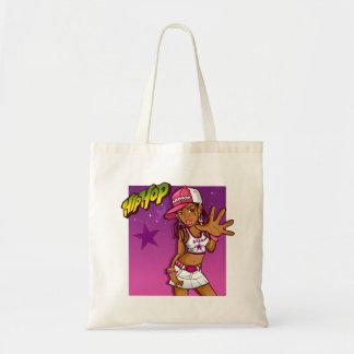 Cool Teen Hip Hop Rapper Pink and Purple Cartoon Tote Bag