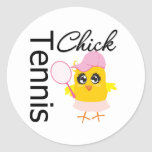 Cool Tennis Chick Round Stickers