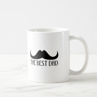 Cool The best Dad Black Moustache Father's Day Basic White Mug