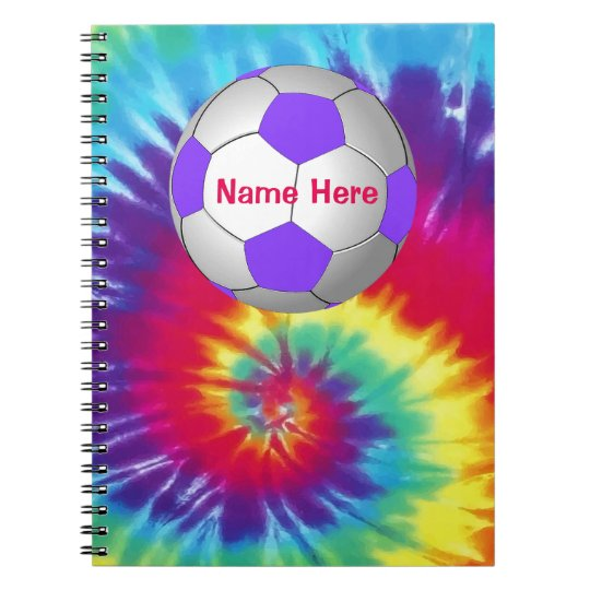Cool Tie Dye PERSONALIZED Soccer Notebook