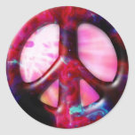 Cool Tie Dye Space Nebula Peace Sign Round Stickers