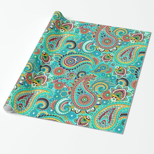 Cool Tones Colourful Retro Paisley Wrapping Paper