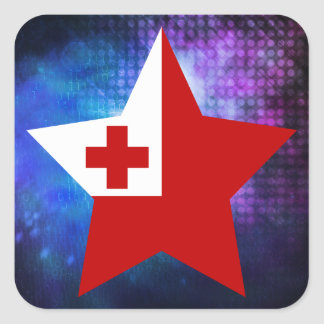 Cool Tonga Flag Star Square Sticker