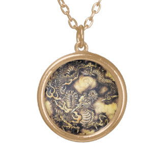 Cool traditional japanese oriental dragon wood art personalized necklace
