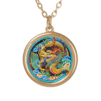 Cool traditional japanese oriental dragon wood art round pendant necklace