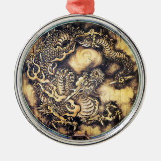 Cool traditional japanese oriental dragon wood art Silver-Colored round decoration