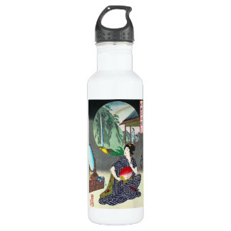 Cool traditional japanese woodprint geisha art 710 ml water bottle