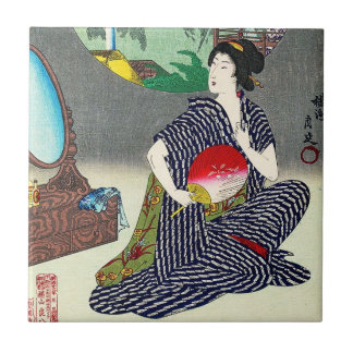 Cool traditional japanese woodprint geisha art small square tile