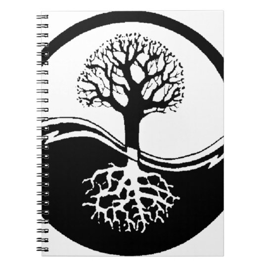 cool tree in black and white notebook