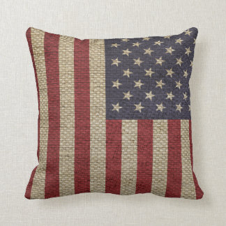 Cool trendy America flag burlap texture Cushion