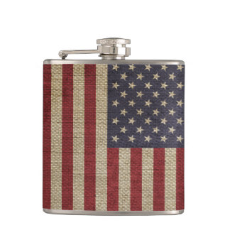 Cool trendy America flag burlap texture Hip Flask