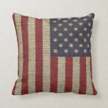 Cool trendy America flag burlap texture Pillows