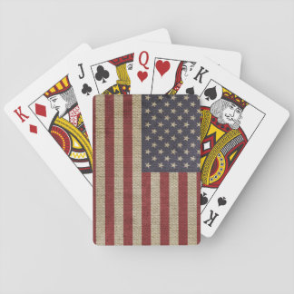 Cool trendy America flag burlap texture Playing Cards