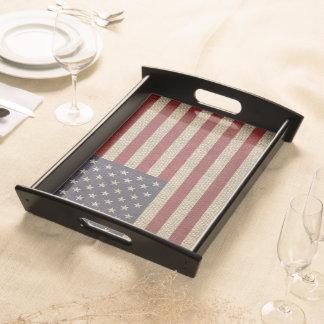 Cool trendy America flag burlap texture Serving Tray