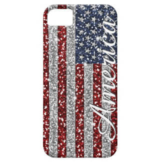 Cool trendy America flag shining faux glitter iPhone 5 Cases