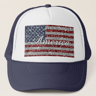 Cool trendy America flag shining faux glitter Trucker Hat