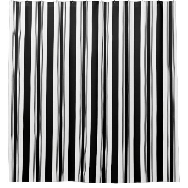Cool Trendy Black And White Vertical Striped Shower Curtain Zazzle Co Uk