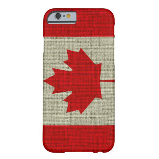 Cool trendy Canada flag burlap texture Barely There iPhone 6 Case