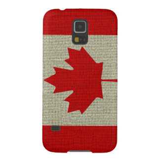 Cool trendy Canada flag burlap texture Case For Galaxy S5