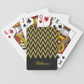 Cool trendy chevron zigzag gold faux glitter poker deck