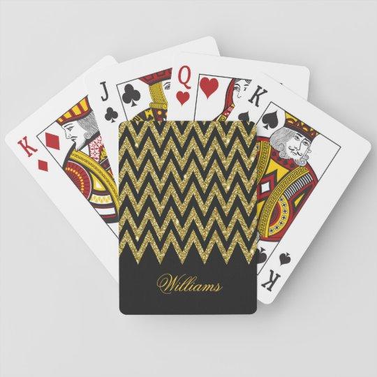 Cool trendy chevron zigzag gold faux glitter poker