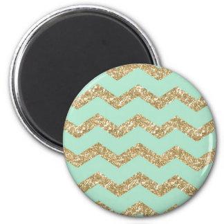 Cool Trendy Chevron Zigzag Mint Faux Gold Glitter 6 Cm Round Magnet