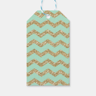 Cool Trendy Chevron Zigzag Mint Faux Gold Glitter Gift Tags