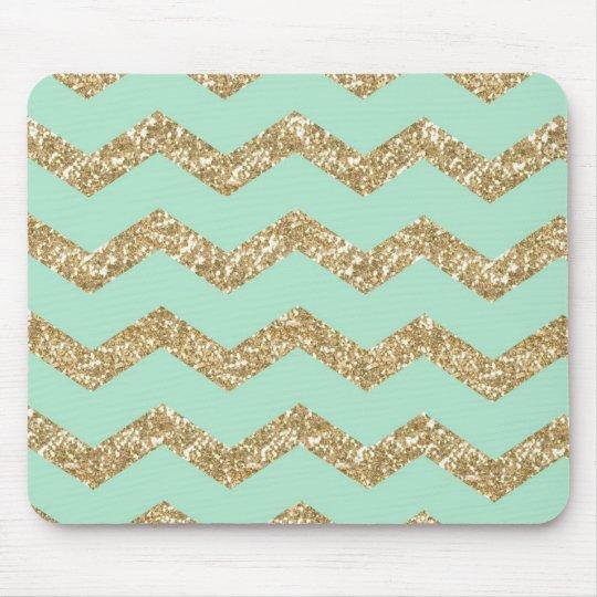 Cool Trendy Chevron Zigzag Mint Faux Gold Glitter
