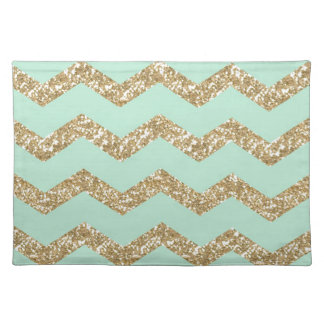 Cool Trendy Chevron Zigzag Mint Faux Gold Glitter Placemat