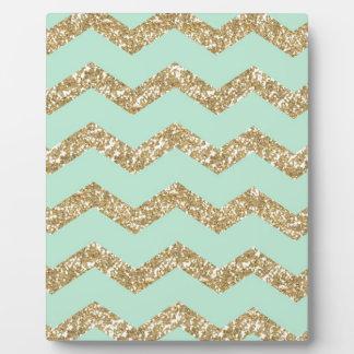 Cool Trendy Chevron Zigzag Mint Faux Gold Glitter Plaque