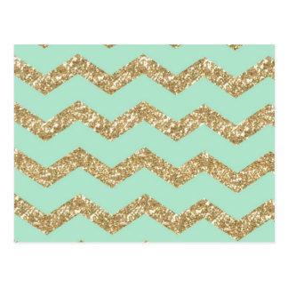 Cool Trendy Chevron Zigzag Mint Faux Gold Glitter Postcard