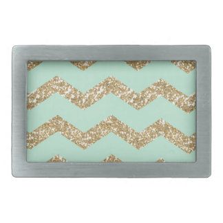 Cool Trendy Chevron Zigzag Mint Faux Gold Glitter Rectangular Belt Buckle