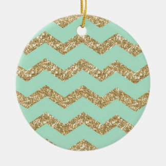 Cool Trendy Chevron Zigzag Mint Faux Gold Glitter Round Ceramic Decoration