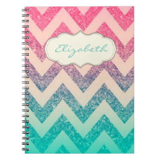 Cool Trendy Chevron Zigzag Ombre  Glitter Notebook