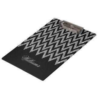 Cool trendy chevron zigzag silver faux glitter clipboard