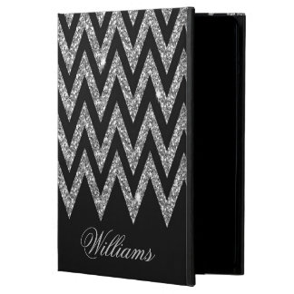 Cool trendy chevron zigzag silver faux glitter iPad air case