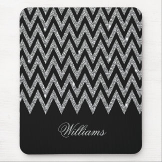 Cool trendy chevron zigzag silver faux glitter mouse mat