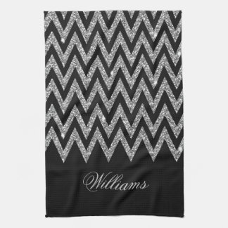 Cool trendy chevron zigzag silver faux glitter tea towel