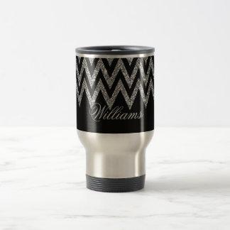 Cool trendy chevron zigzag silver faux glitter travel mug