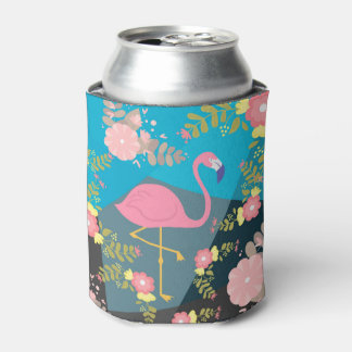 Cool Trendy Chic Cute Pink Girly Floral Flamingo Can Cooler