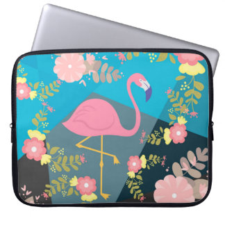 Cool Trendy Chic Cute Pink Girly Floral Flamingo Laptop Sleeve
